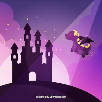 Draak die naar kasteel vliegt