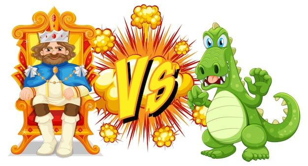 Draak en koning vechten tegen elkaar op wit