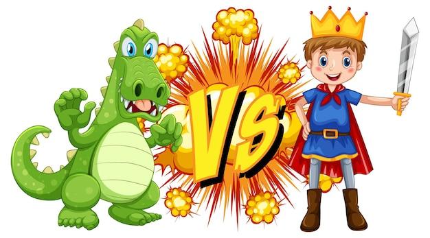 Draak en ridder die elkaar bevechten op witte achtergrond