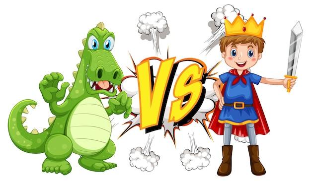 Draak en ridder die elkaar op witte achtergrond bestrijden
