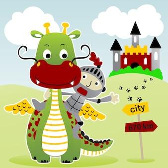 Draak en ridder met kasteel, vectorbeeldverhaalillustratie