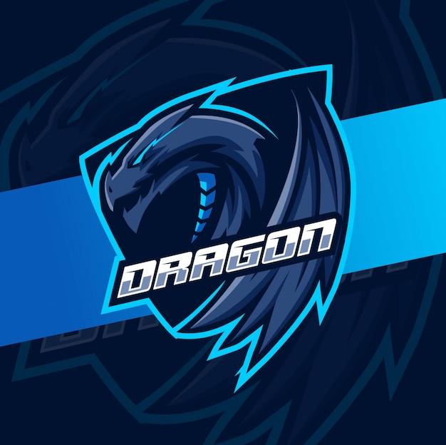 Draak mascotte esport logo ontwerp