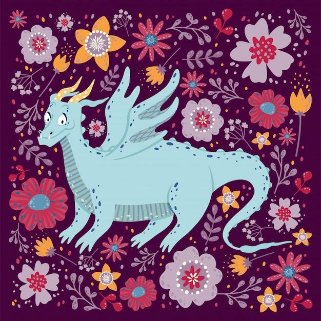 Draak met het ontwerp van de bloemenkaart. kinderachtig met een draak in een vierkant kader.