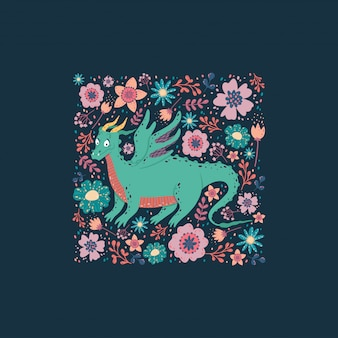 Draak met het ontwerp van de bloemenkaart. kinderachtige achtergrond met een draak in een vierkant kader.