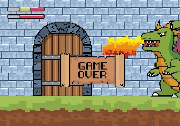 Draak spuwt vuur in de kasteeldeur met een game-overbericht