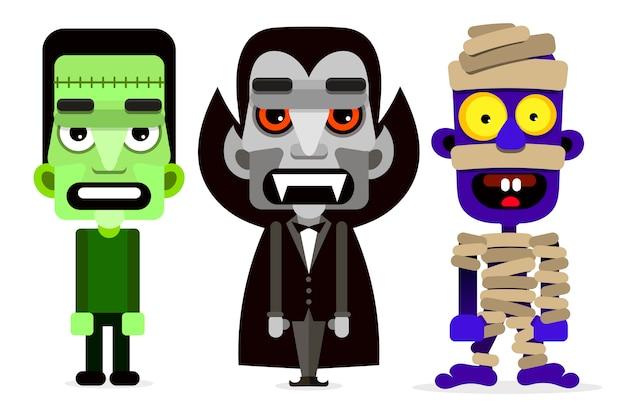 Dracula de mummie en zombie set monsters.