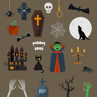 Dracula iconen vector set vampier karakter ontwerp cartoon elementen