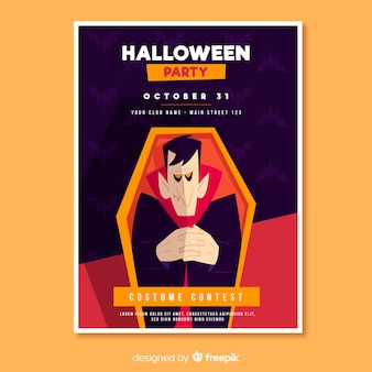Dracula in een flyer voor doodskisthalloween