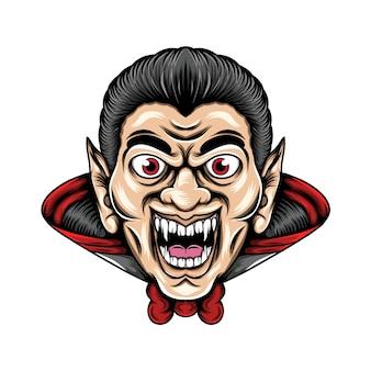Dracula met de scherpe tanden en grote ogen gebruikt hij zijn kostuum