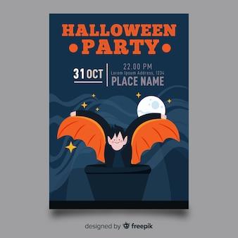 Dracula op een halloween-vlieger van de volle maannacht