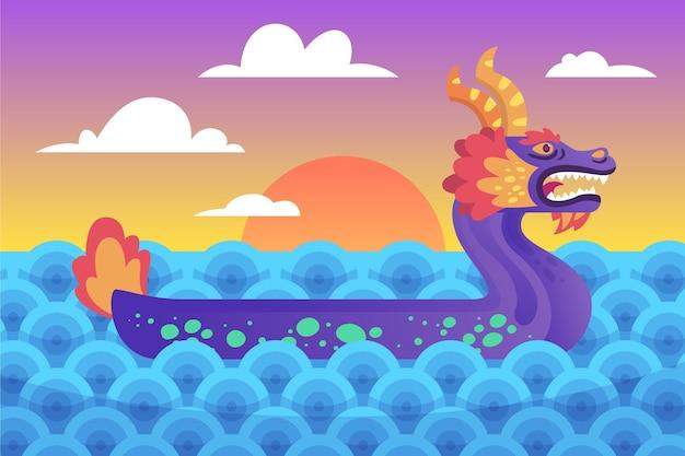 Dragon boat-achtergrond bij zonsopgang