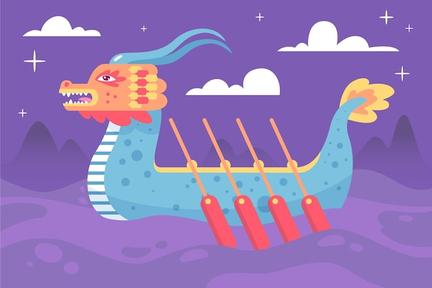 Dragon boat-achtergrond in de nacht