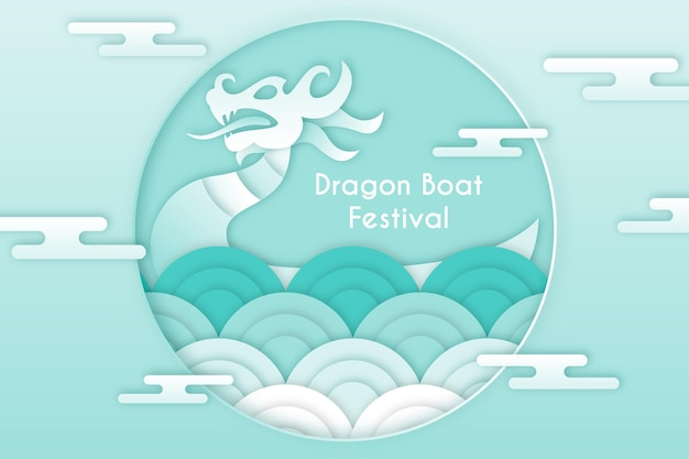 Dragon boat achtergrond in papier stijl