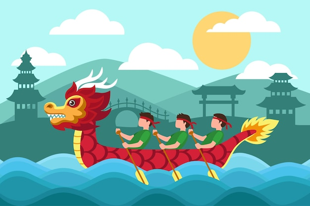 Dragon boat behang