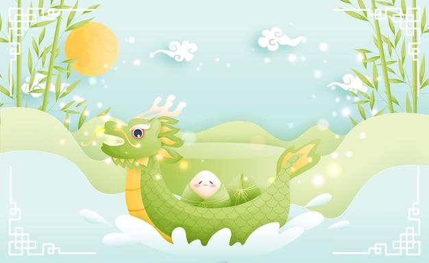 Dragon boat festival-productdisplay met rijstbol en drakenboot.
