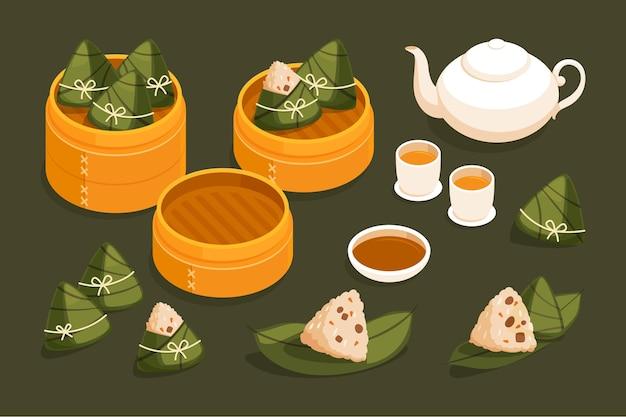 Dragon boat's zongzi collectie in plat design