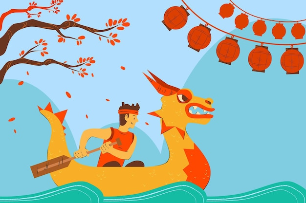 Dragon boat wallpaper met man