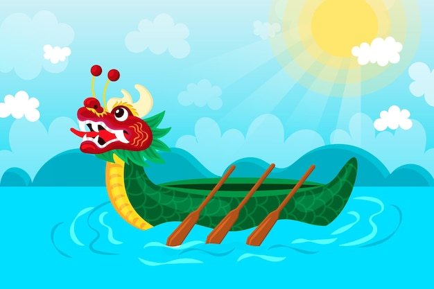 Dragon boat wallpaper met zon