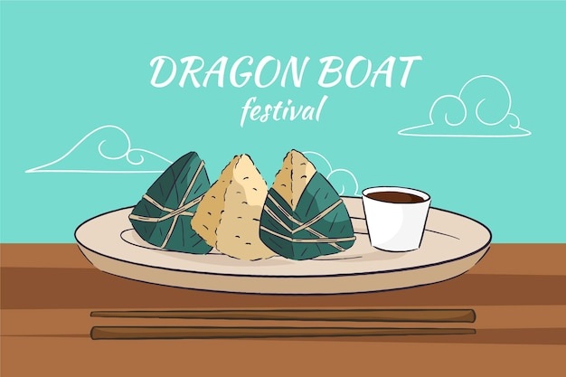 Dragon boten zongzi achtergrond