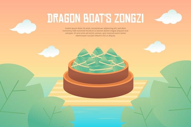 Dragon boten zongzi achtergrondthema