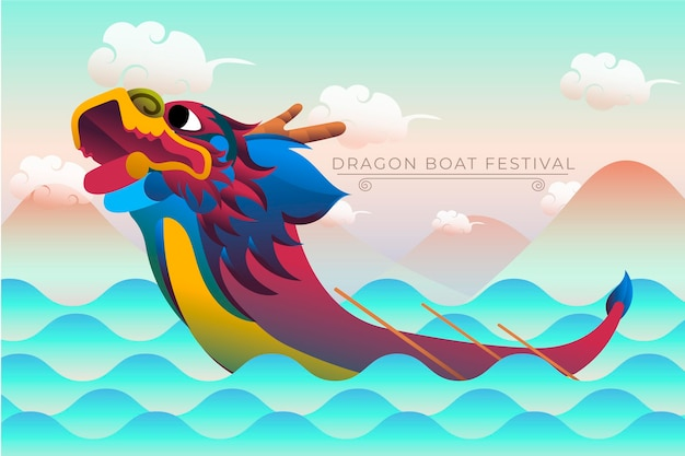 Dragon boten zongzi behangontwerp