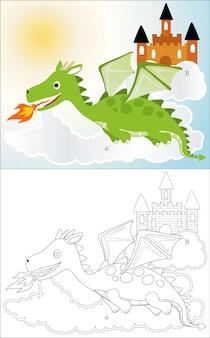 Dragon cartoon met een kasteel in de lucht