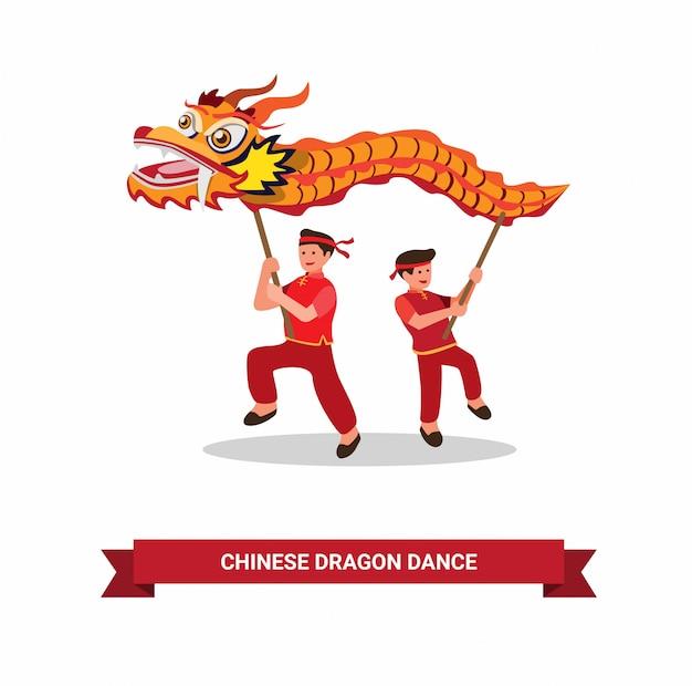 Dragon dance, chinese traditionele danser om chinees nieuwjaar te vieren met een witte achtergrond in vlakke afbeelding symbool
