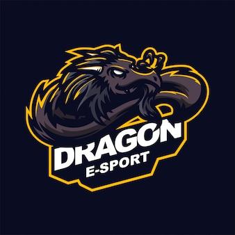 Dragon e-sport gaming mascotte logo sjabloon