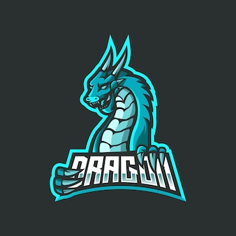 Dragon esport mascotte logo ontwerp.