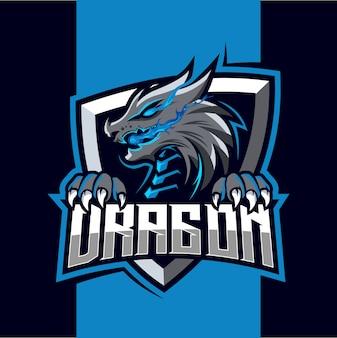 Dragon fire mascotte esport logo ontwerp