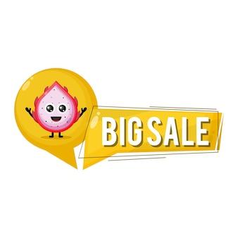 Dragon fruit grote verkoop schattig karakter mascotte