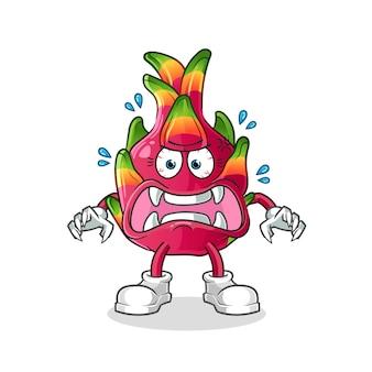 Dragon fruit monster. cartoon karakter illustratie