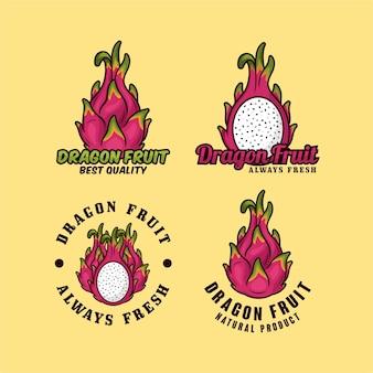 Dragon fruit ontwerp logo collectie