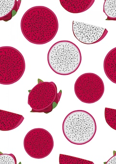 Dragon fruit slice naadloos patroon