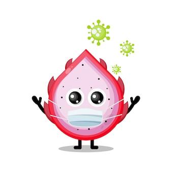 Dragon fruit virus masker schattig karakter mascotte