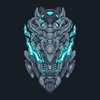 Dragon head fire cyberpunk