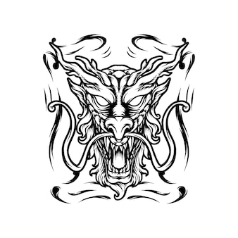 Dragon head japan silhouet