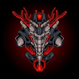 Dragon head robotachtige vectorillustratie