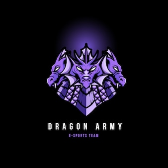 Dragon head sports gaming logo mascotte