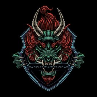 Dragon hoofd mascotte logo