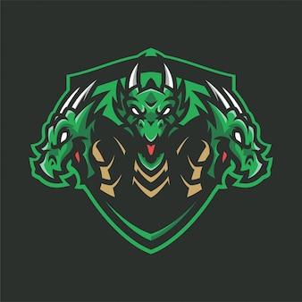 Dragon hydra mascot hoofd sport logo