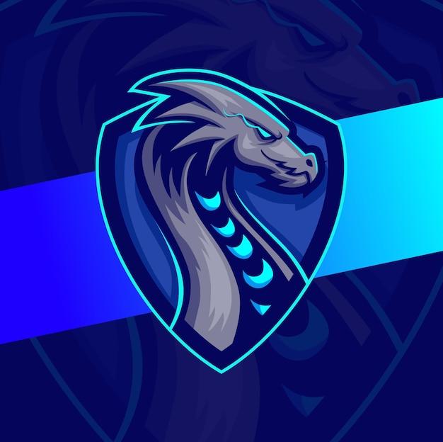 Dragon karakter mascotte e-sport logo ontwerp