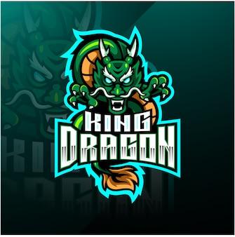 Dragon king mascotte logo ontwerp
