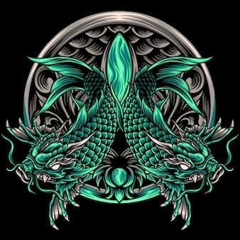 Dragon koi vissen japan ornamenten