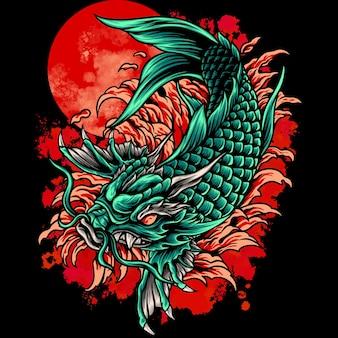Dragon koi vissen japan