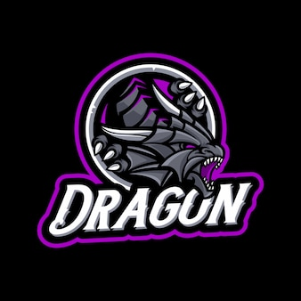 Dragon mascot op donkere achtergrond