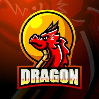 Dragon mascotesport logo ontwerp