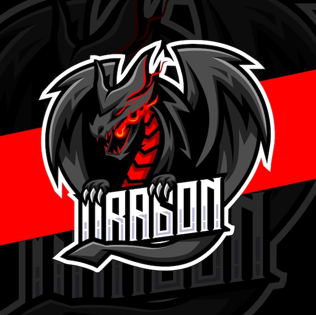Dragon mascotte esport logo ontwerp