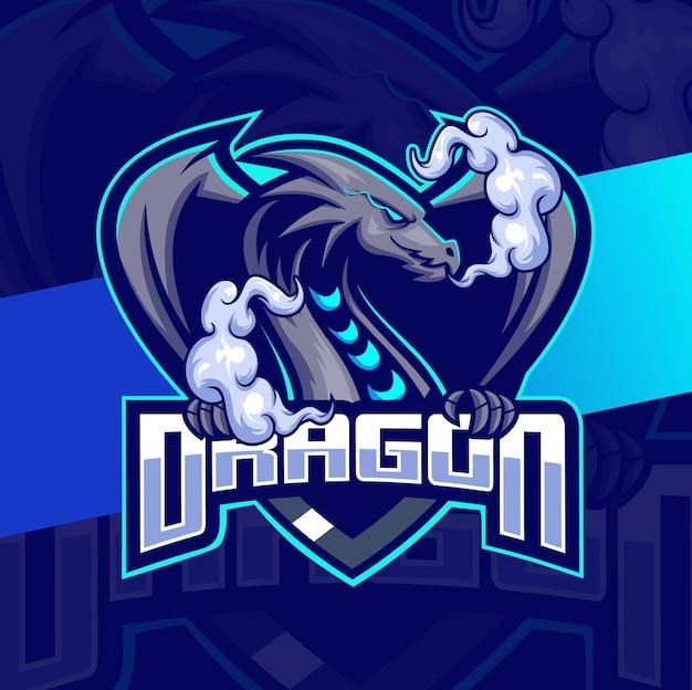 Dragon-mascotte esport-logo-ontwerpkarakter voor sport- en gaming-logo met klauw en rookwolk