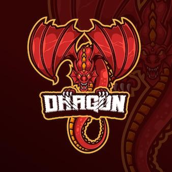 Dragon-mascotte esports gaming-logo-ontwerp